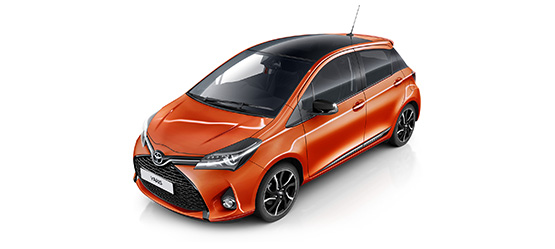 Toyota Yaris, exterior front side view, orange with white background