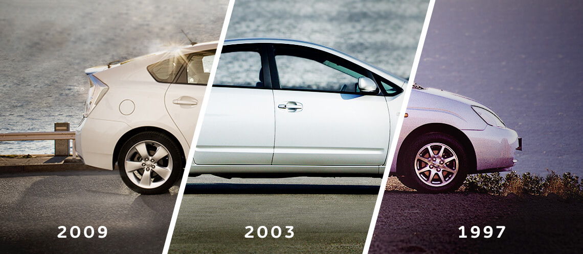 Toyota Prius, exterior Silver, side view, vehicle shown in three different times of the day, outdoors background