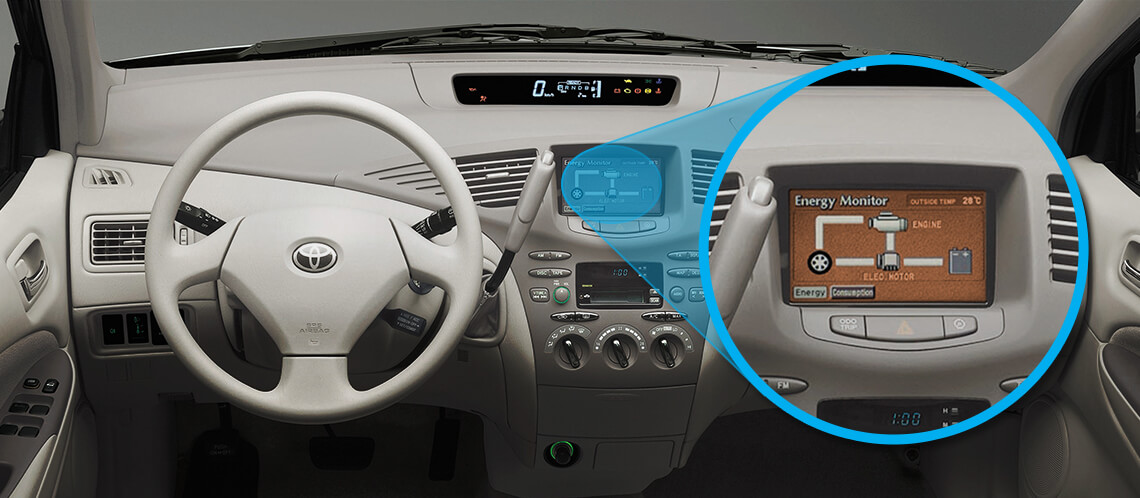 Toyota Prius, interior, cream coloured leather steering wheel, control panel on display with the energy monitor zoomed in.