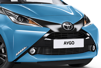 Toyota Aygo, exterior front side view, Blue, white background