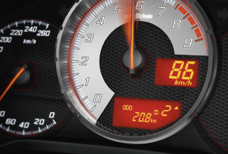 Toyota GT86, interior Orange, speedometer close up