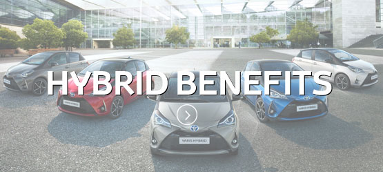 Toyota Yaris Range with Hybrid Benefits text