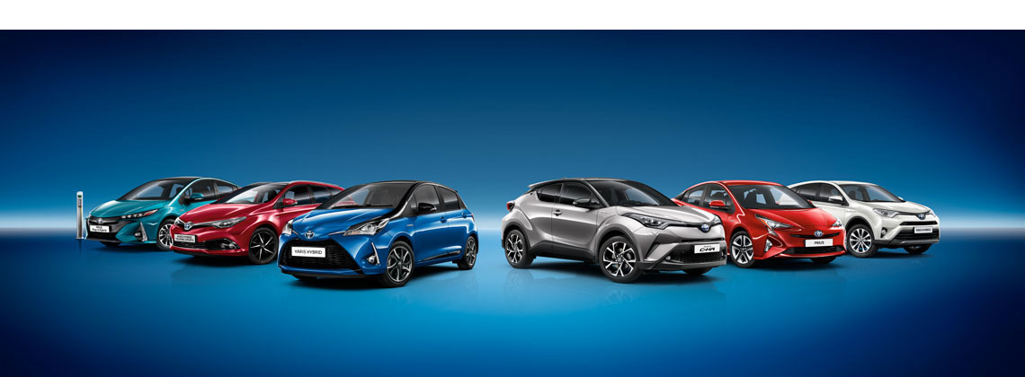 Toyota Hybrid Range on blue background